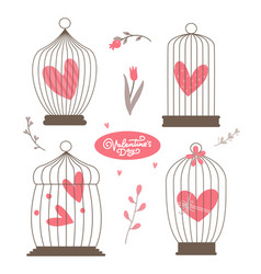vintage heart in bird cages set isolated on vector image