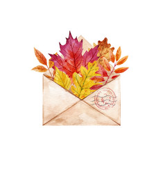 Watercolor envelop with leaves vector