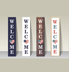 welcome porch sign vertical design template vector image