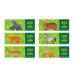 wild animals in jungle banner ticket vector image