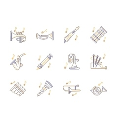 Wind instruments tunes color line icons set vector