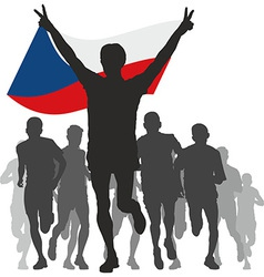 Winner with the Czech Republic flag at the finish vector image