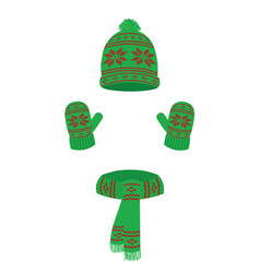 winter set cap scarf and gloves vector image