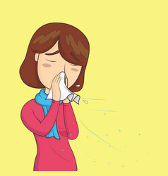 woman with sneezing with spray and small drops vector image