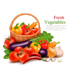 Background with fresh vegetables in basket Healthy vector image vector image