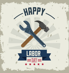 colorful poster of happy labor day with tools vector image