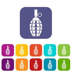 Grenade icons set vector