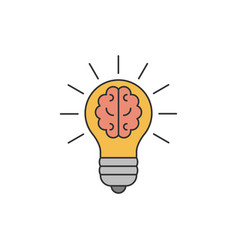 light bulb with a brain inside flat line vector image vector image