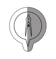 monochrome contour sticker with drawing compass vector image vector image