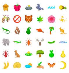 Nature sanctuary icons set cartoon style vector