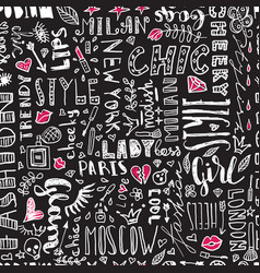 pattern of words and letters and women s vector image vector image