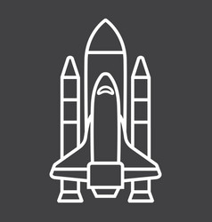 space shuttle line icon transport and space vector image