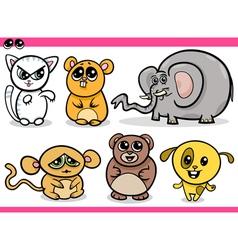 cute kawaii animals cartoons vector image vector image