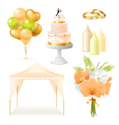Realistic wedding elements set vector