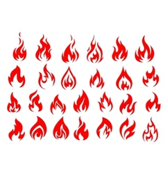Red fire icons and pictograms set vector image vector image