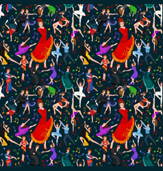 seamless pattern dancing people dancer bachata vector image vector image