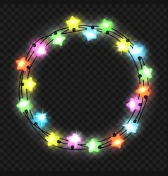 christmas star light garland on transparent vector image