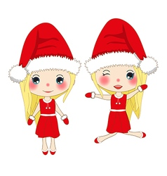 Cute Girl in Red Dress Christmas Day vector image vector image