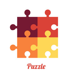 Four folded puzzles smart logo and symbol of vector