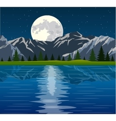 Full moon and group of trees reflected vector image vector image