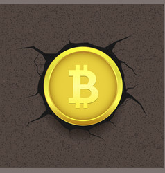 golden bitcoin on cracked background vector image vector image