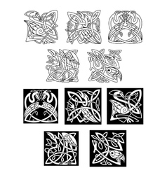 Heron and stork celtic ornaments vector image vector image