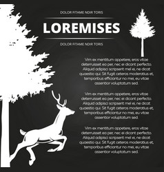 background with deer and tree vector image vector image