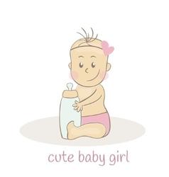 Cute little baby girl newborn baby icon vector