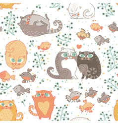 Kats and birds vector image