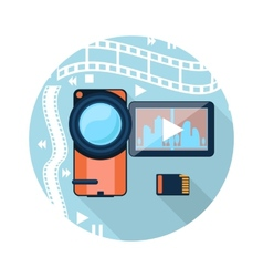 Video camera with cinema tape on background vector image