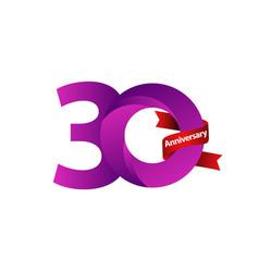 30 years anniversary celebration purple ribbon vector