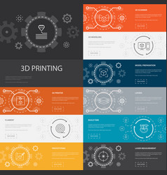 3d printing infographic 10 line icons banners3d vector