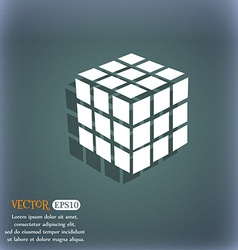 A three sided cube puzzle box in 3D icon On the vector