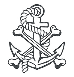 Anchor with rope and crossed bones vector