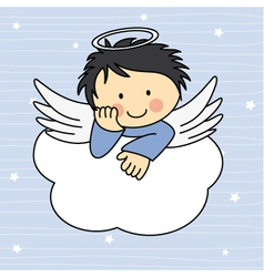 Angel wings on a cloud vector