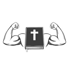 Bible arm bicep strong symbol christianity vector