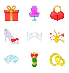 big love icons set cartoon style vector image