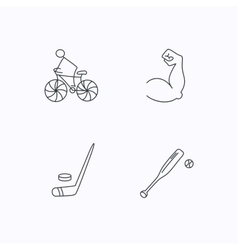 Biking biceps and ice hockey icons vector image