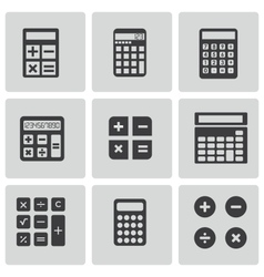 Black calculator icons set vector