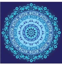 Blue ottoman serial circle ornament vector
