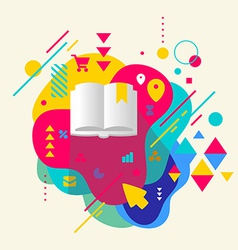 Book on abstract colorful spotted background with vector