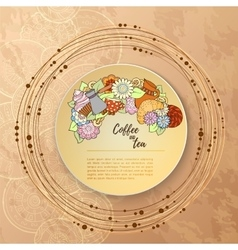 Breakfast theme Pattern with tea cup sweets and vector