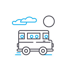 bus transportation thin line stroke icon vector image