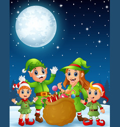 Cartoon christmas elves old man old witch with e vector