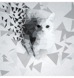 Cat of the polygons on the chaotic background vector