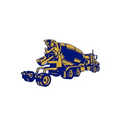 Cement Truck Rear Woodcut vector