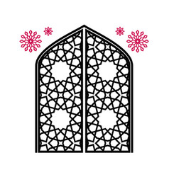Closed gate with carvings traditional islamic vector