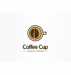 Coffee cup top view with bean shape foam creative vector
