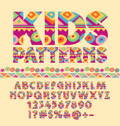 Colorful pattern alphabet set for children vector