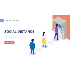 Concept social distance people stand in vector